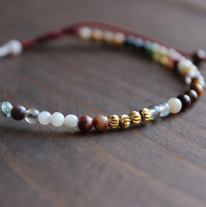 Natural Gemstone Meditation 7 Stone Chakra Beaded Stacking Bracelet - Egret Jewellery