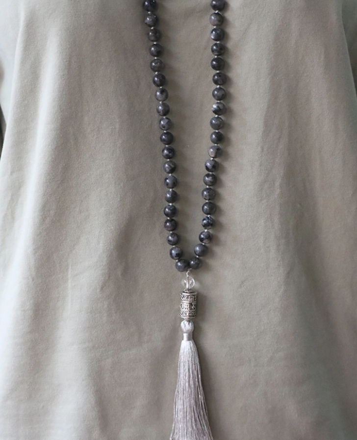 Natural Labradorite Beaded Long Mala Necklace Six True Words OM Mantra Grey - Egret Jewellery