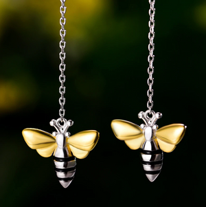 Sterling Silver | Gold Bumble Bee Threader Earrings Delicate Small Solid 925 - Egret Jewellery