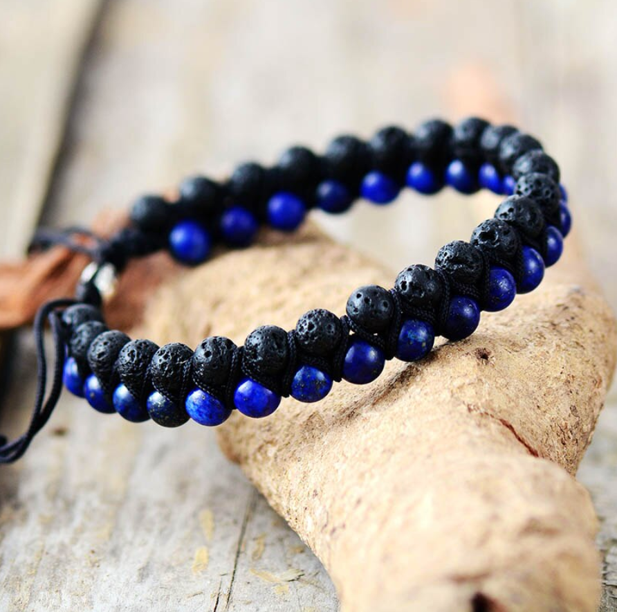 Men's Beaded Lapis Lazuli | Lava Rock Stacking Bracelet Shamballa Blue Black - Egret Jewellery