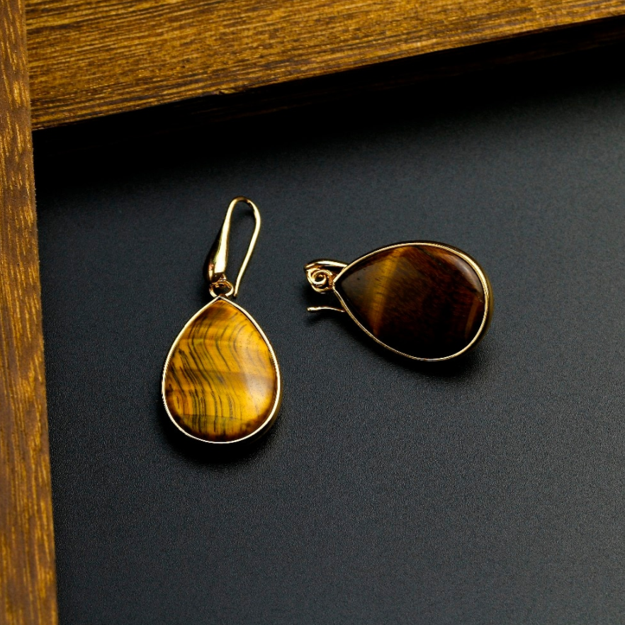 Gold-Plated Natural Tigers Eye Pear Dangle Drop Earrings Teardrop Brown - Egret Jewellery