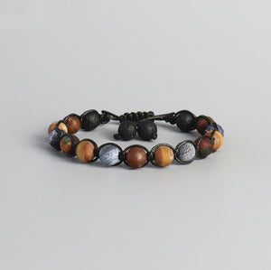 Men's Black Lava Rock Beaded Shamballa Stacking Bracelet Adjustable Stackable - Egret Jewellery
