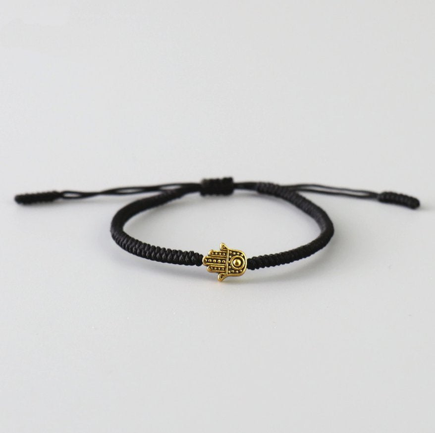 Men's Black Cord Hamsa Hand Charm Gold Lucky Stacking Bracelet Adjustable - Egret Jewellery