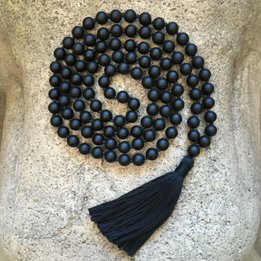 Natural Gemstone Men's Long Beaded Mala Necklace Black Matt Onyx Tassel - Egret Jewellery