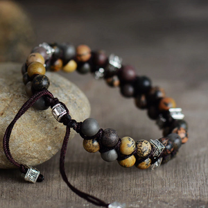 Men's Natural Gemstone Beaded Brown Jasper Stacking Bracelet Shamballa - Egret Jewellery