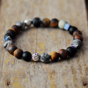 Men's Beaded Silver Tigers Eye | Onyx | Jasper | OM Elastic stacking Bracelet - Egret Jewellery