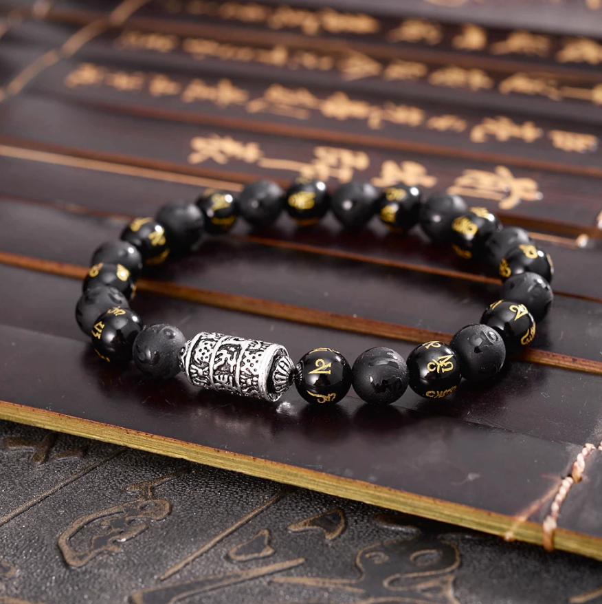 Men's Beaded Tibetan Silver & Onyx OM Mantra Inscribed Elastic stacking Bracelet - Egret Jewellery
