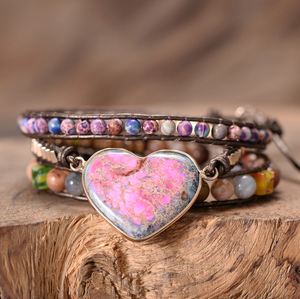 Natural Gemstone Beaded Pink Impression Jasper Regalite Heart | Wrap Bracelet - Egret Jewellery