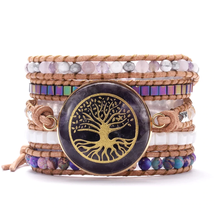 Natural Amethyst | Tila Beads | Quartz | Steel Beaded Tree of Life Wrap Bracelet - Egret Jewellery