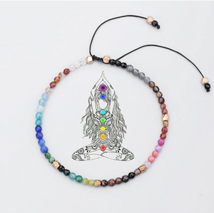 Natural 7 Stone Chakra Meditation Crystals Beaded Bracelet - Egret Jewellery