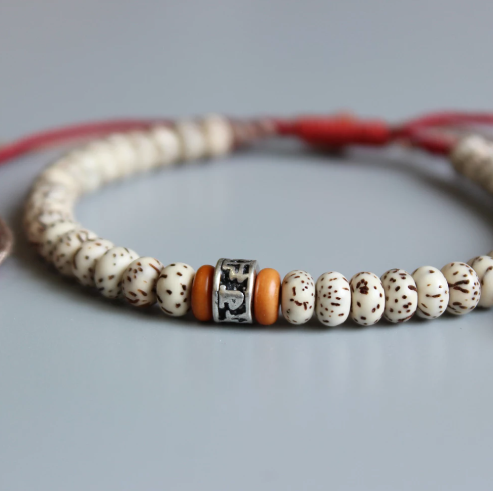 Tibetan Buddhist Lucky knots Bodhi Seed bracelet Men's Stacking OM Mantra White - Egret Jewellery