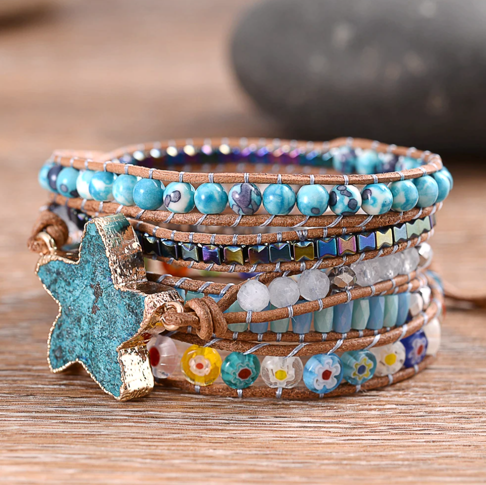 Natural Ocean Jasper Beaded Druzy Geode | Wrap Bracelet Beads Blue Starfish - Egret Jewellery