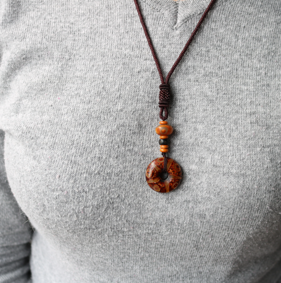 Men's Coconut Tibetan Dzi Eye Buddhist OM Mantra Necklace Rope Brown Pendant - Egret Jewellery