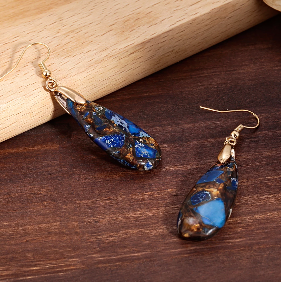 Natural Gemstone Jasper Teardrop Drop Dangle Water Drop Earrings Blue Gold - Egret Jewellery
