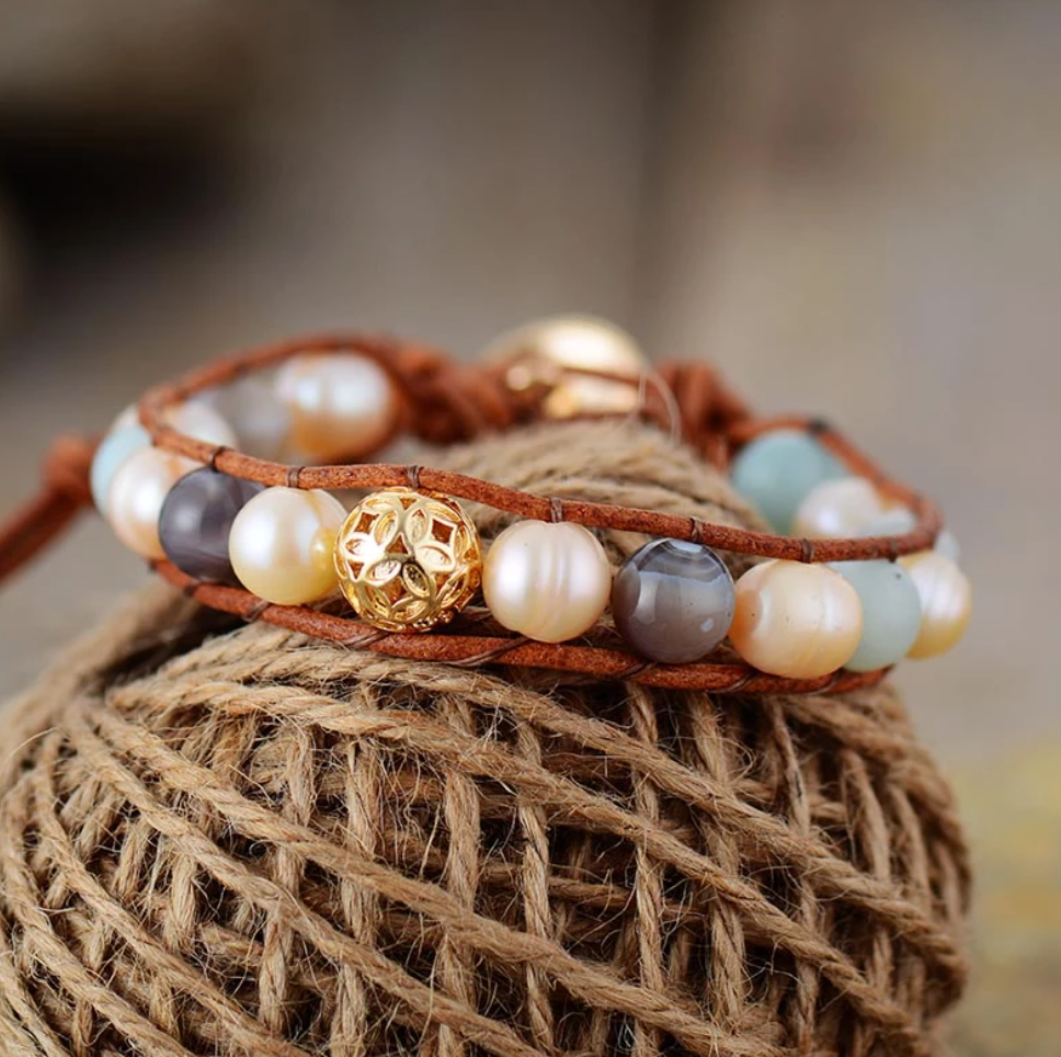 Natural Genuine Freshwater Pearl | Amazonite Leather Beaded Stacking Bracelet - Egret Jewellery