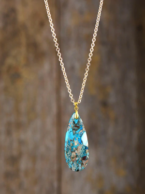Gold Natural Turquoise Pendant Blue Geode Necklace Gold Inlaid - Egret Jewellery