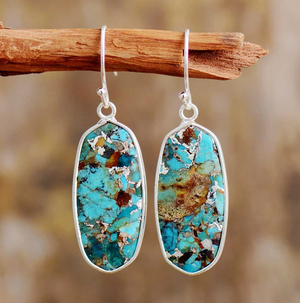 Large Natural Turquoise Sterling Silver Inlay Drop/Dangle Blue Hook Earrings - Egret Jewellery