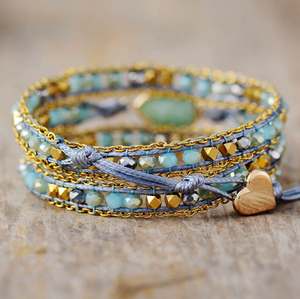 Vegan Natural Gemstone Amazonite Beaded Geode Wrap Bracelet Heart Blue - Egret Jewellery