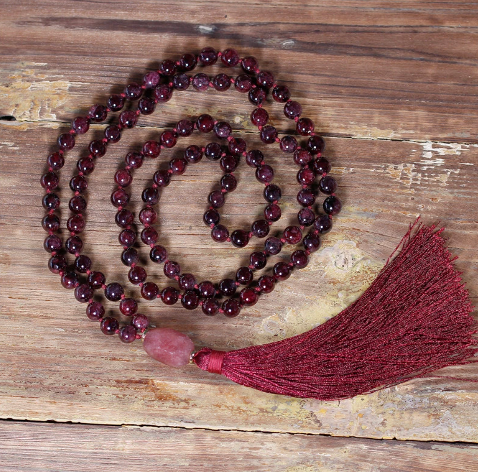 Natural Gemstone Red Garnet Beaded Tassel Mala Necklace Geode Chakra - Egret Jewellery