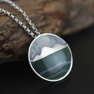 925 Sterling Silver Agate Landscape Mountain Sea Pendant Necklace - Egret Jewellery