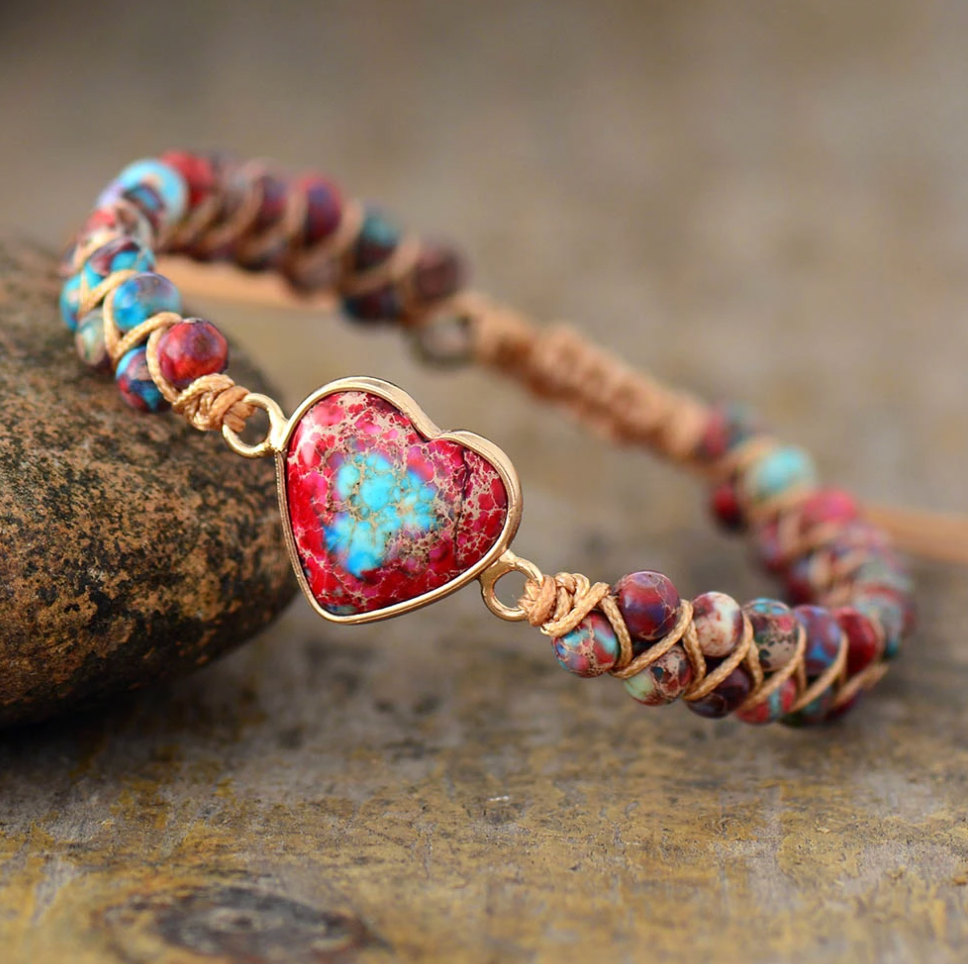 Natural Beaded Pink Impression Jasper Heart Stacking Wrap | Cuff Bracelet - Egret Jewellery