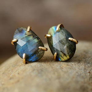 Natural Gemstone Rough Labradorite Gold Stud Boho Round Earrings - Egret Jewellery