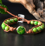 Natural Beaded Green Impression Jasper Stacking Wrap | Cuff Leather Bracelet