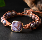 Natural Beaded Purple Impression Jasper Stacking Wrap | Cuff Leather Bracelet