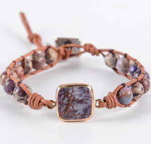 Natural Beaded Purple Impression Jasper Stacking Wrap | Cuff Leather Bracelet - Egret Jewellery