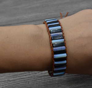Natural Moonstone | Onyx Beaded Leather Oblong Wrap Cuff Bracelet