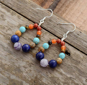 Natural Gemstone Turquoise | Amethyst Teardrop Silver Dangle Drop Earrings