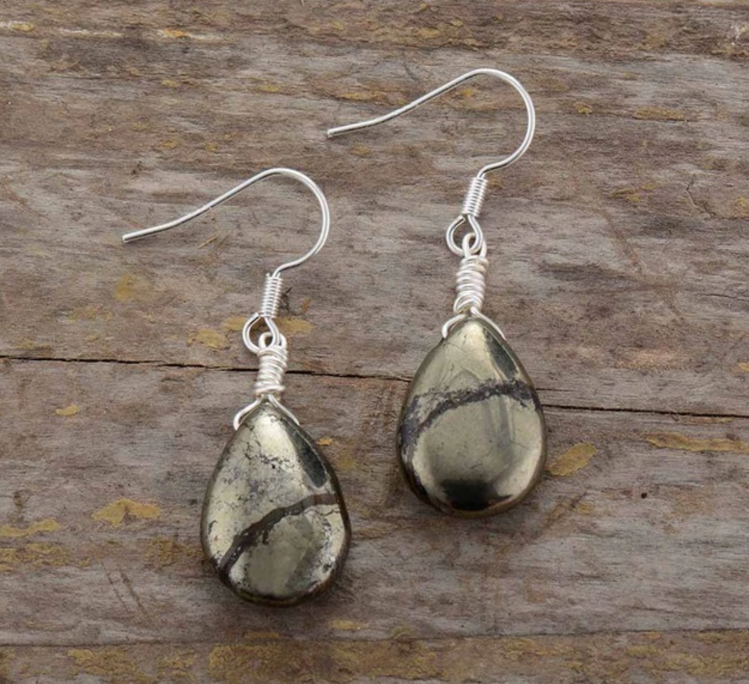 Natural Gemstone Pyrite Teardrop Silver Dangle Drop Earrings Boho Gold - Egret Jewellery
