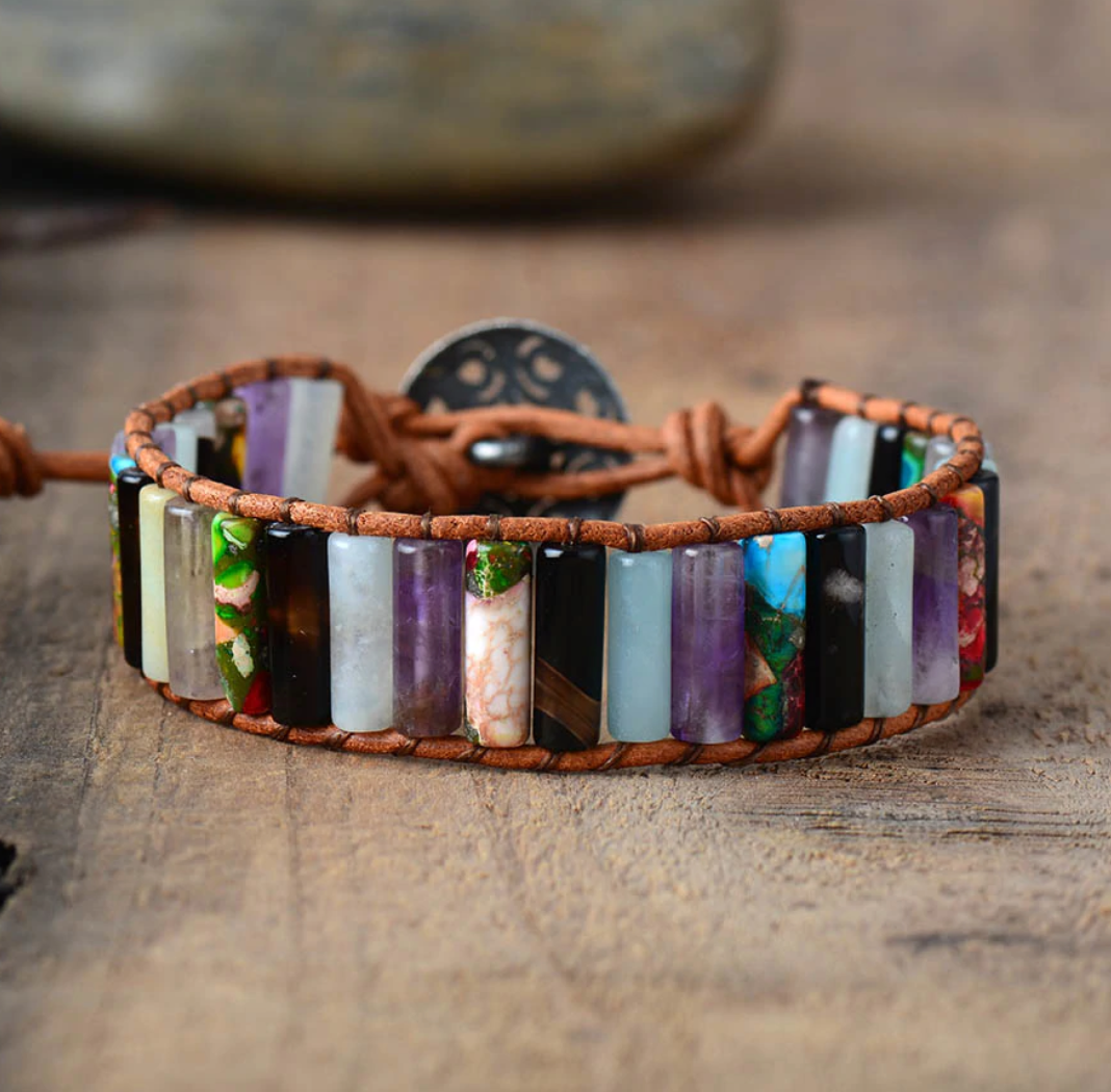 Natural Multi-Coloured Gemstone Oblong Wrap | Cuff Bracelet Amethyst | Jade