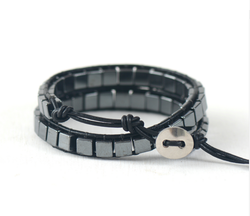 Natural Mens Beaded Hematite Leather Wrap Cuff Bracelet