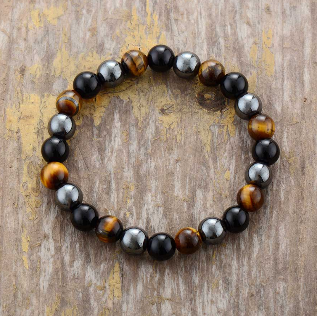 Men's Beaded Silver Hematite Tigers Eye Onyx Elastic Stacking Bracelet