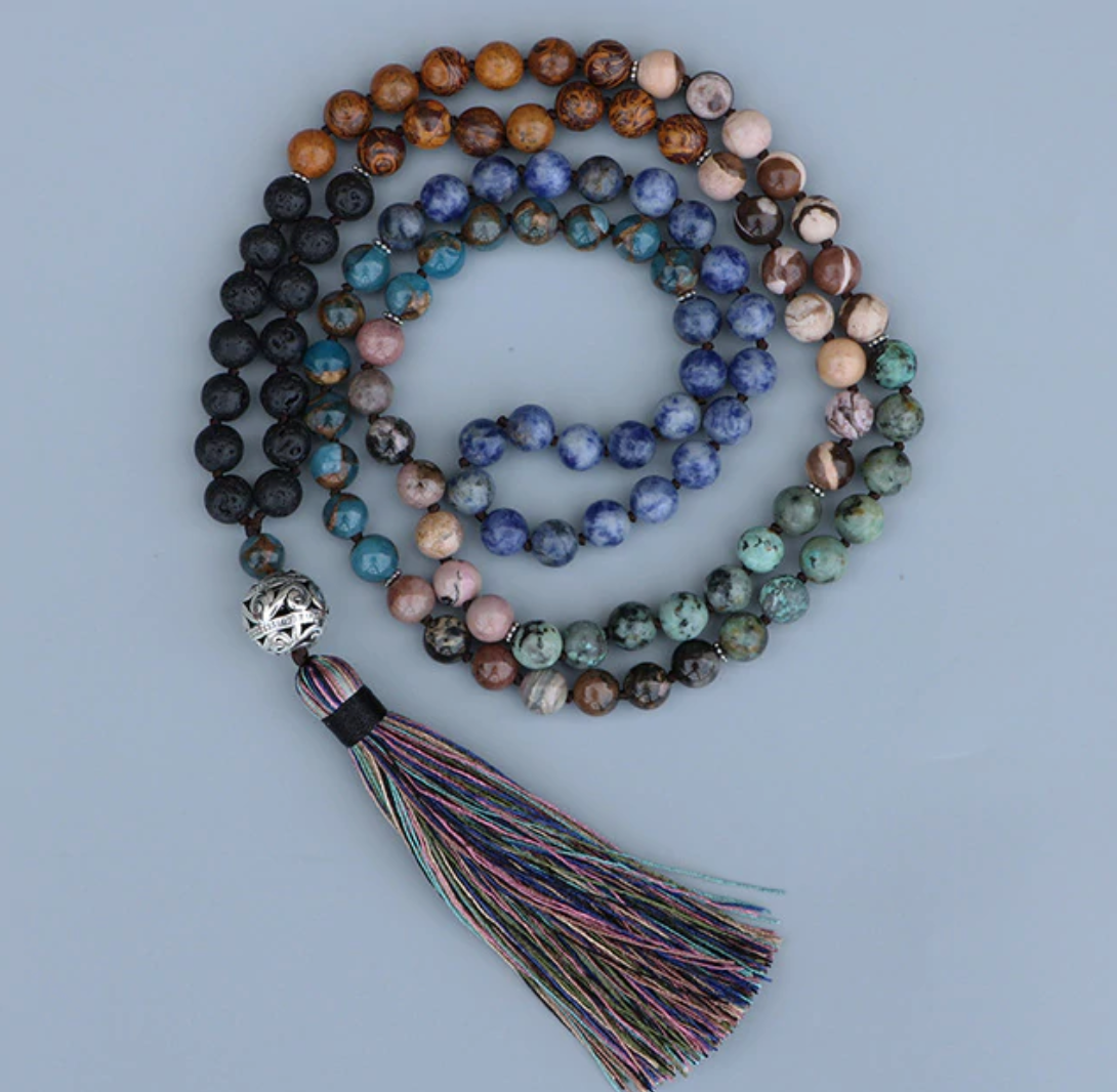 Natural Gemstone Beaded 7 Stone Chakra Mala Necklace Lava Rock, Rhodochrosite