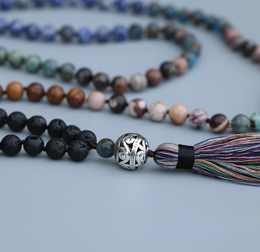 Natural Gemstone Beaded 7 Stone Chakra Mala Necklace Lava Rock, Rhodochrosite - Egret Jewellery