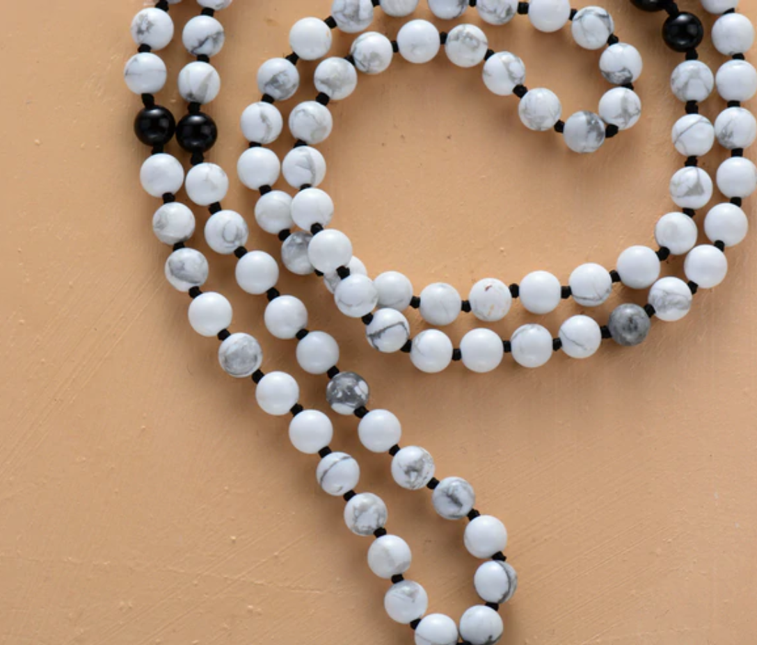Natural Gemstone Beaded Howlite Mala Necklace Tassel - Egret Jewellery