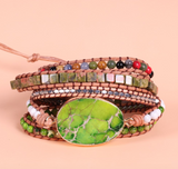 Natural Beaded Green Impression Jasper Geode Wrap | Cuff  Bracelet
