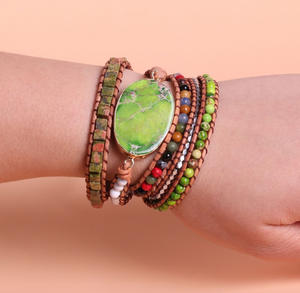 Natural Beaded Green Impression Jasper Geode Wrap | Cuff  Bracelet - Egret Jewellery