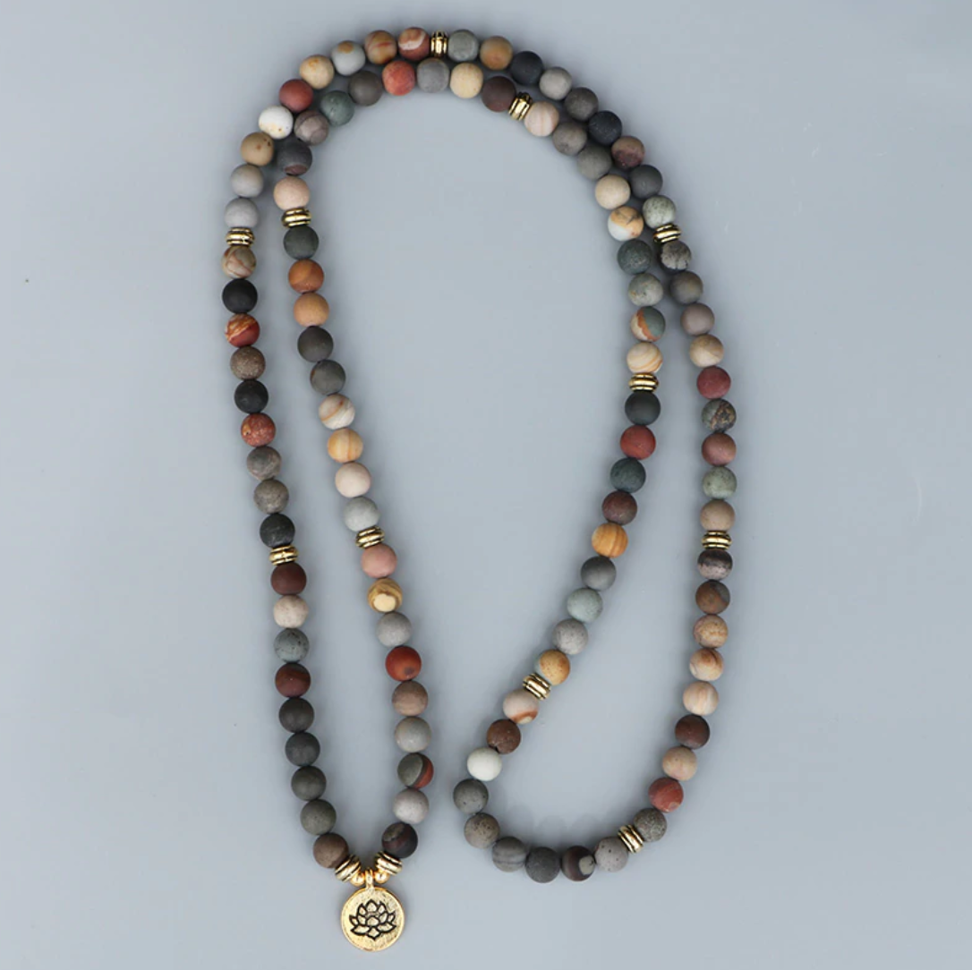 Natural Matt Ocean Stone Beaded Mala Bracelet, Gold Lotus Necklace
