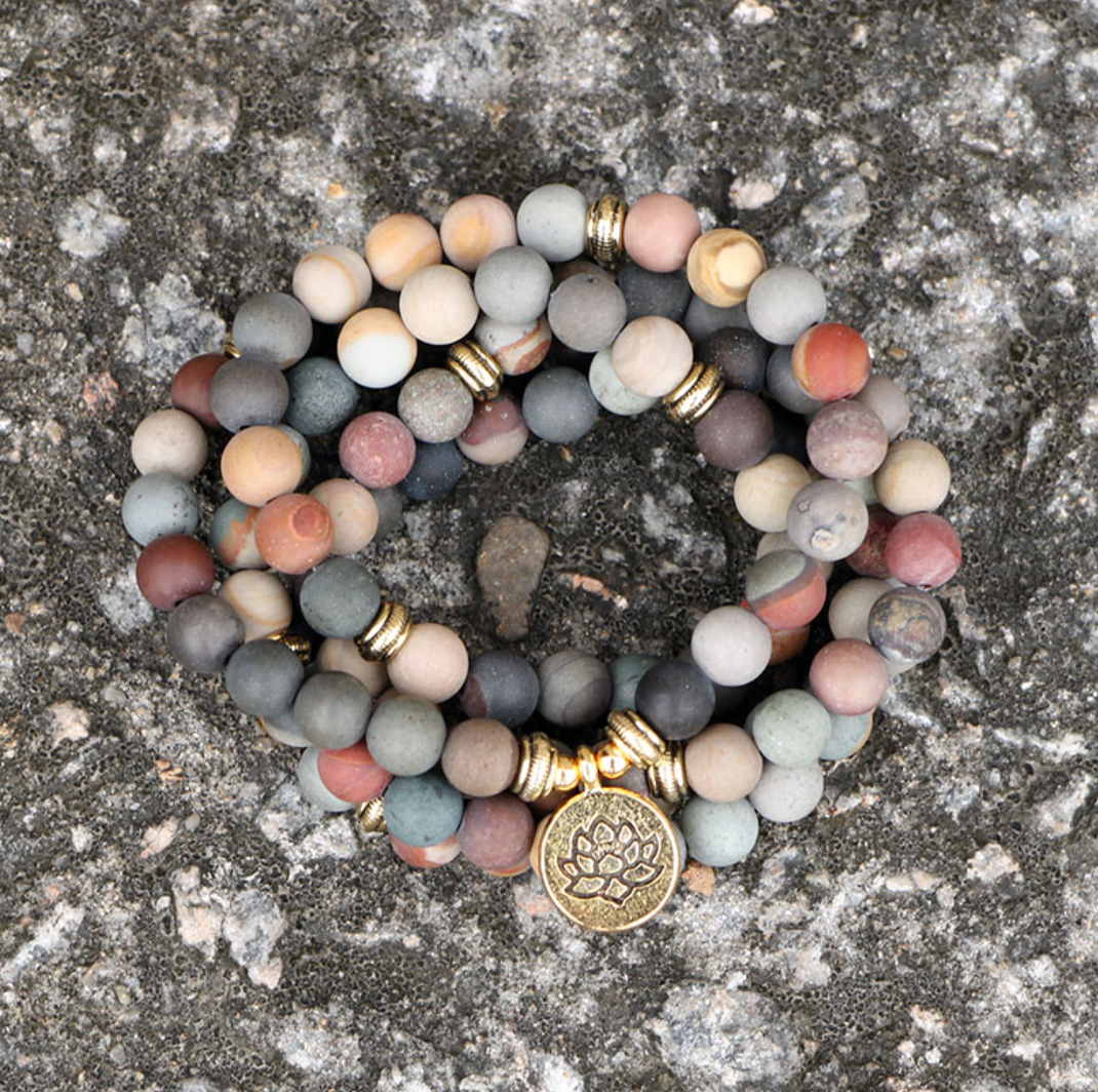 Natural Matt Ocean Stone Beaded Mala Bracelet, Gold Lotus Necklace - Egret Jewellery