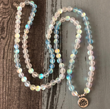 Mermaid Glass Beaded Wrap Bracelet, Mala Beads Necklace