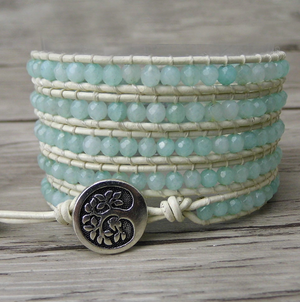 Natural Gemstone Beaded Aqua Chalcedony Leather Wrap Bracelet Pale Blue - Egret Jewellery
