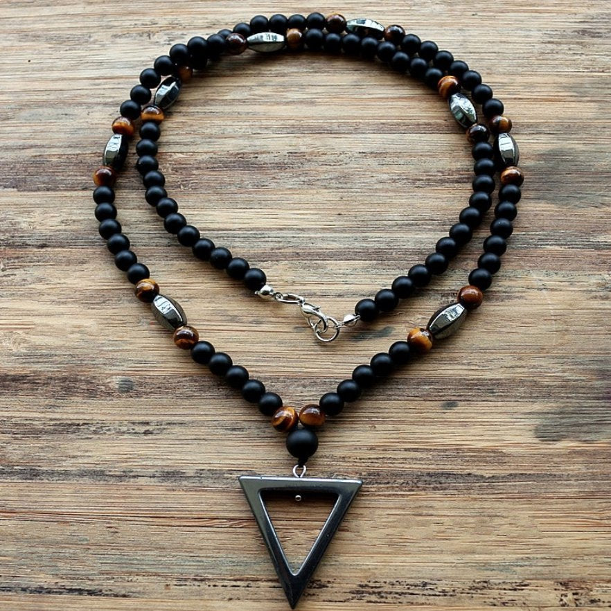 Natural Beaded Men's Onyx | Tigers Eye | Hematite Triangle Necklace - Egret Jewellery