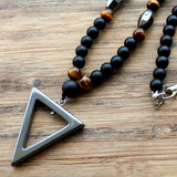 Natural Beaded Men's Onyx | Tigers Eye | Hematite Triangle Necklace