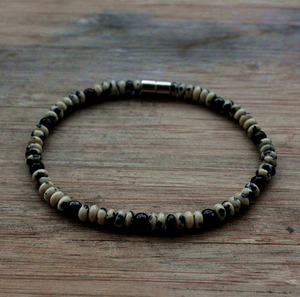 Natural Beaded Men's Onyx | Dalmatian Jasper Surfer Necklace & Bracelet Set - Egret Jewellery