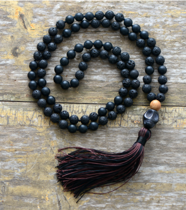 Men's Long Natural Beaded Lava Rock | Jasper Mala Tassel Skull Necklace