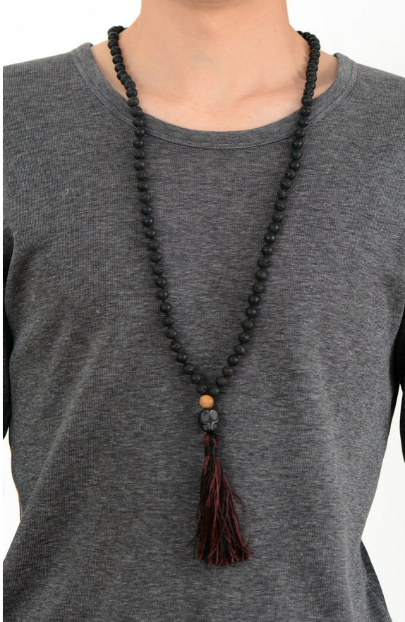 Men's Long Natural Beaded Lava Rock | Jasper Mala Tassel Skull Necklace - Egret Jewellery