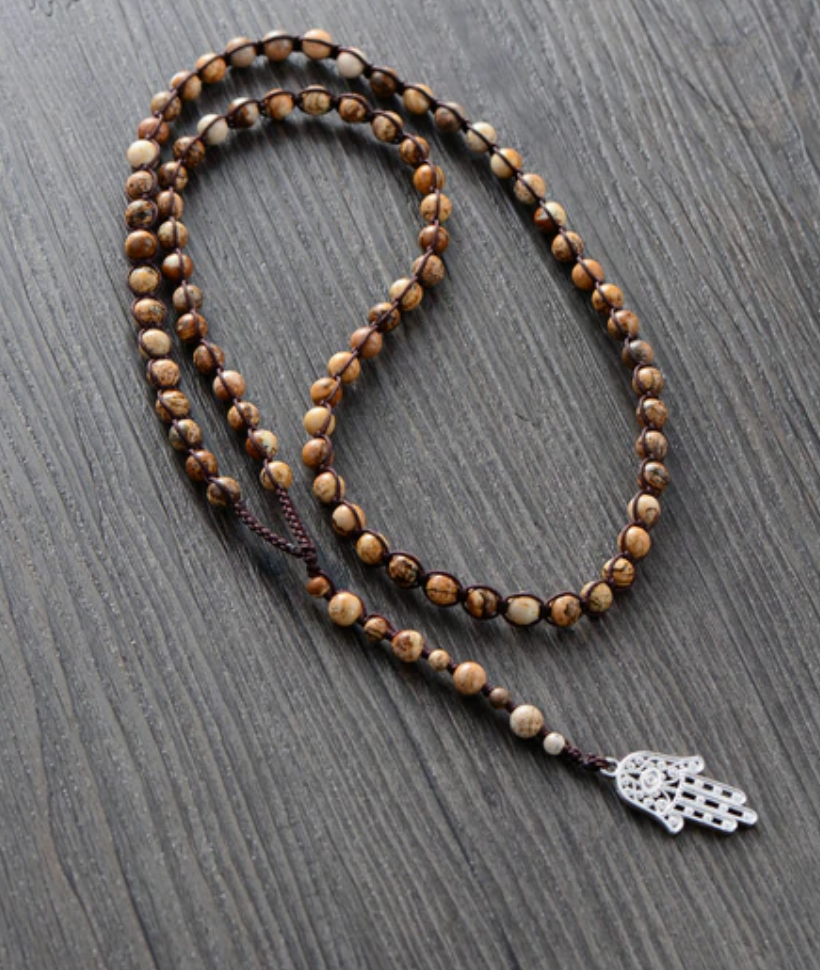 Men's Long Natural Beaded Jasper Mala Hamsa Necklace - Egret Jewellery
